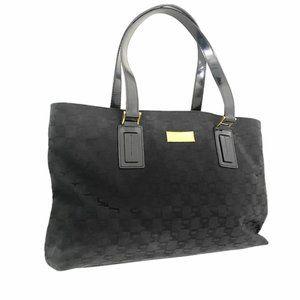 St John Monogram Black Canvas Shoulder Bag